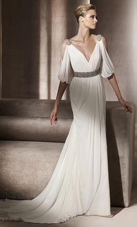 Pronovias Famosa 795 Size 12 New Wedding Dresses Grecian Wedding Dress Wedding Dresses Half Sleeve Wedding Dress