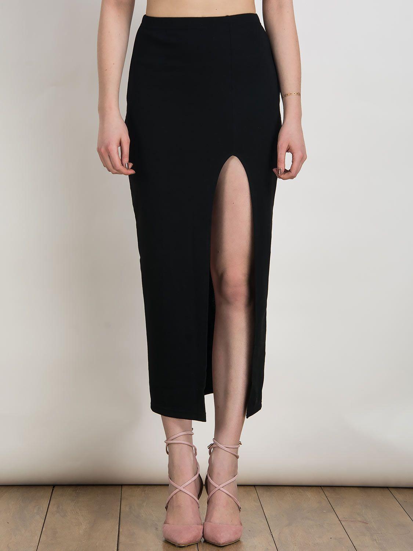 2920210f07 Falda Negra a Media Pierna con Cintura Alta y Abertura en el Lateral ...
