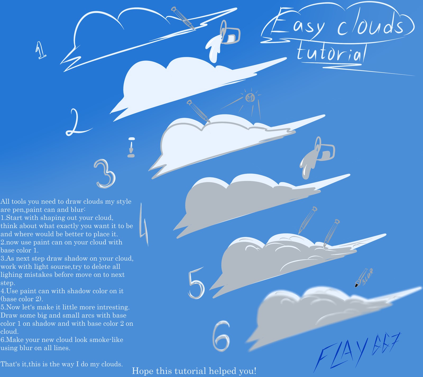 Cartoon Clouds Tutorial By Wingedwilly Cartoon Clouds Cloud Tutorial Cloud Drawing