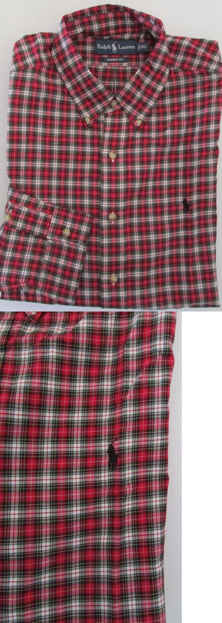 4ede71cfab Dress Shirts 57991  Nwt Ralph Lauren Casual Shirt Long Sleeve Red White  Green Plaid Black