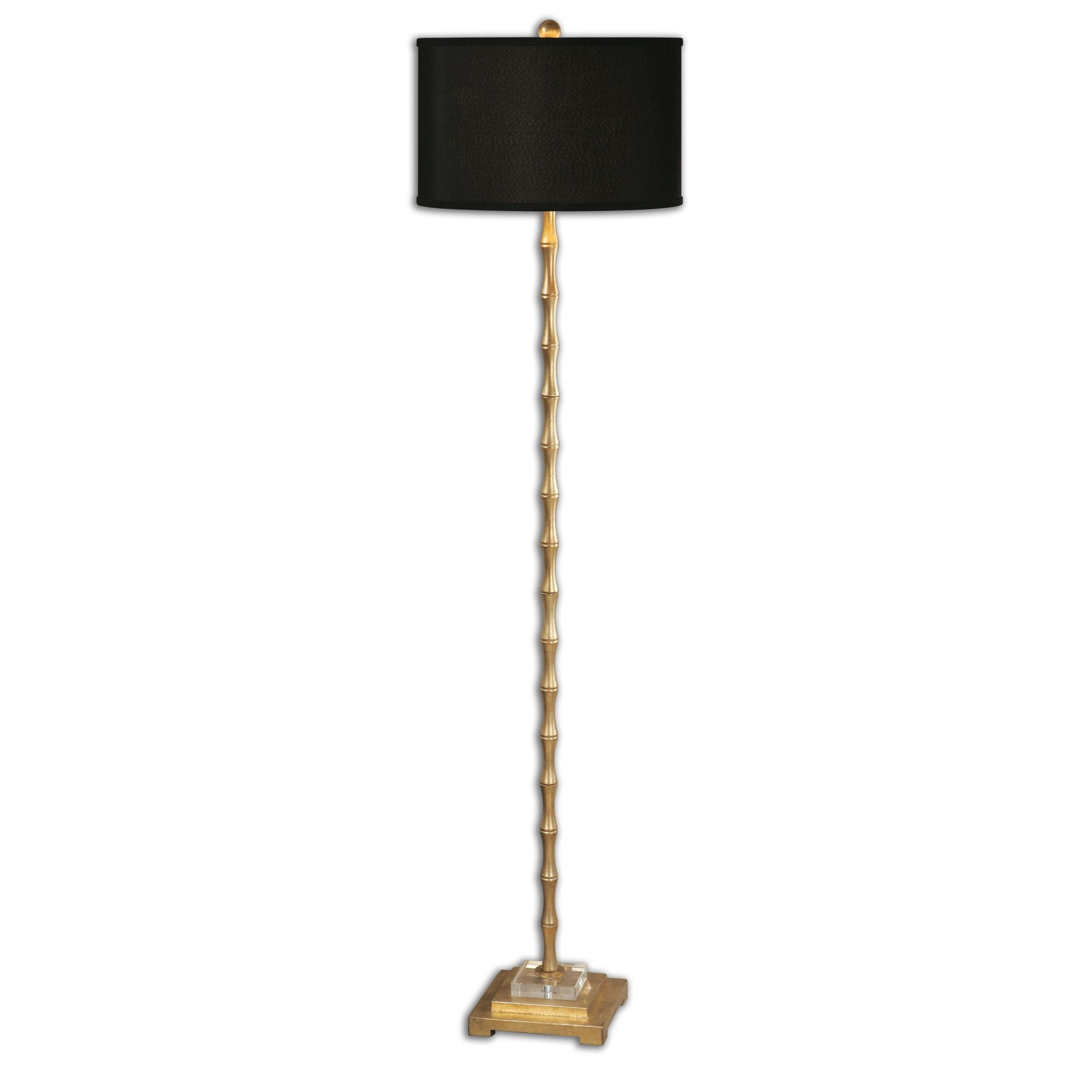 Our Golden Bamboo Floor Lamp Stands Tall In A Refined E Its Finished With Gold Detailing And Sleek Black Shade