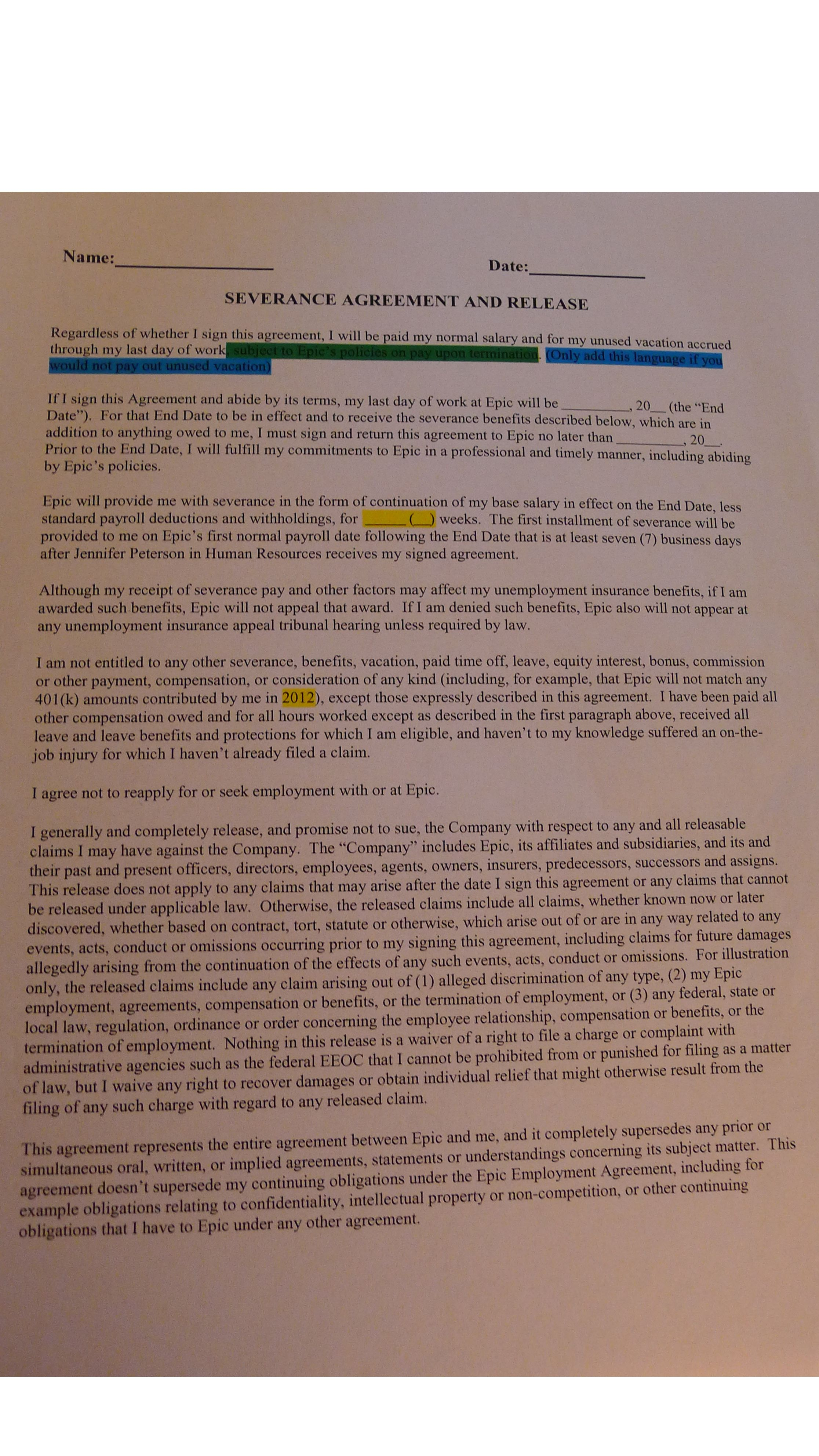 Questionable Legality Of Epic Systems Corporation S Severance Agreement W Hr Notes Epic Systems Photo Album Pay Raise