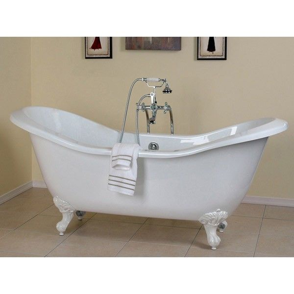 Serenity 72 Inch Acrylic Double Slipper Clawfoot Tub No