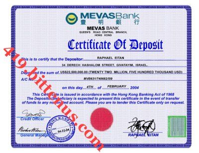 A Certificate of Deposit is used by a bank to a person depositing ...