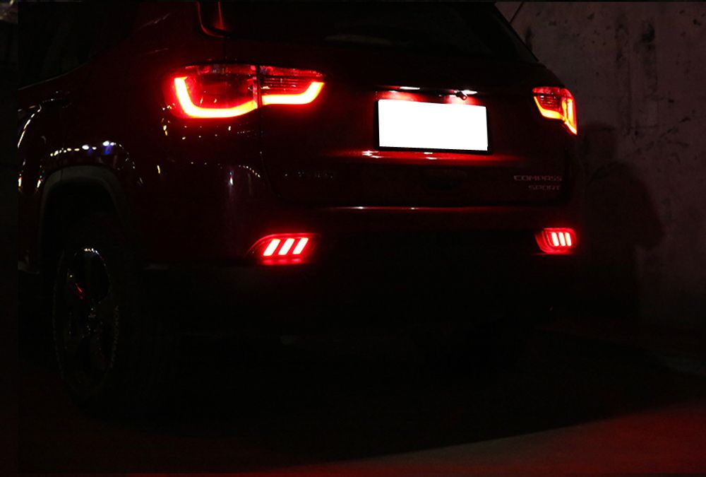 Optic Tube Style Led Bumper Reflector Lights For 17 Up Jeep Compass Function As Tail Brake Rear Fog Lamps Jeep Compass Jeep Jeep Led Lights