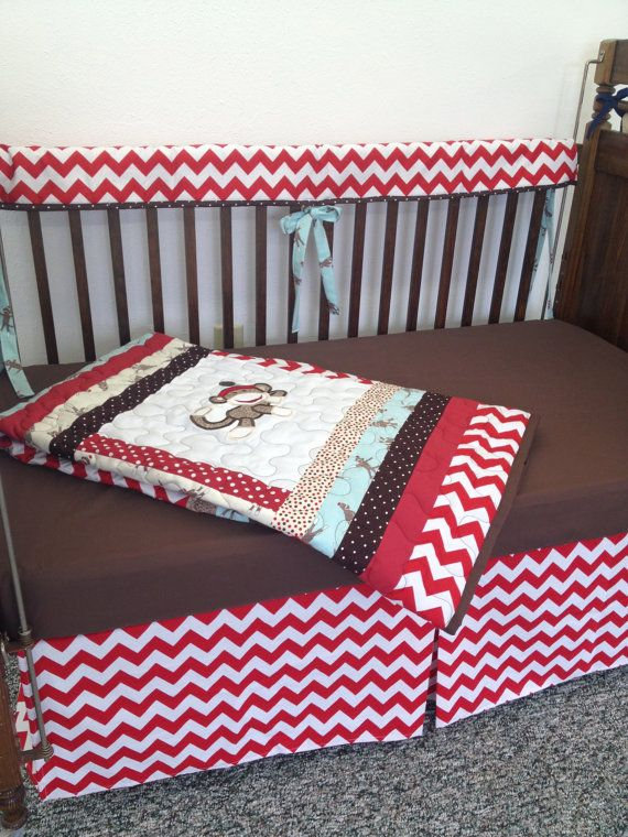 Chevron Sock Monkey Crib Set With Quilt Crib Sheet Crib Rail And