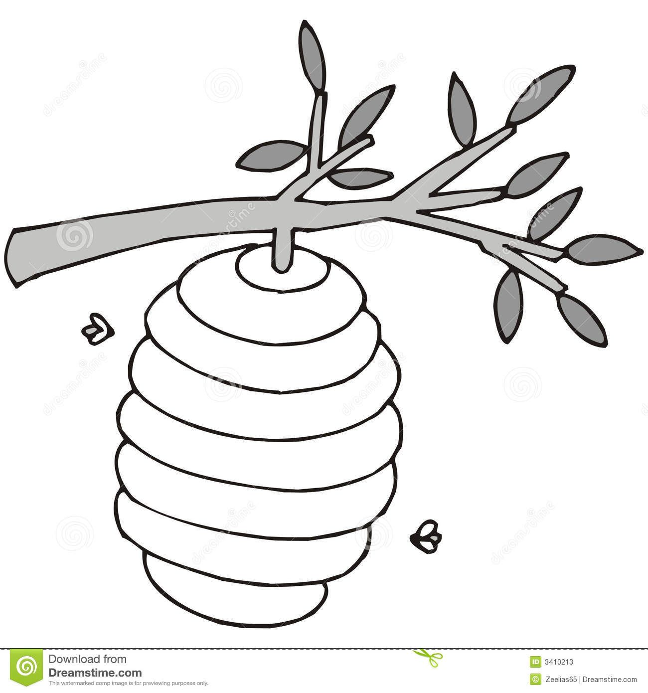 Black And White Beehive Art Illustration In Black And White A