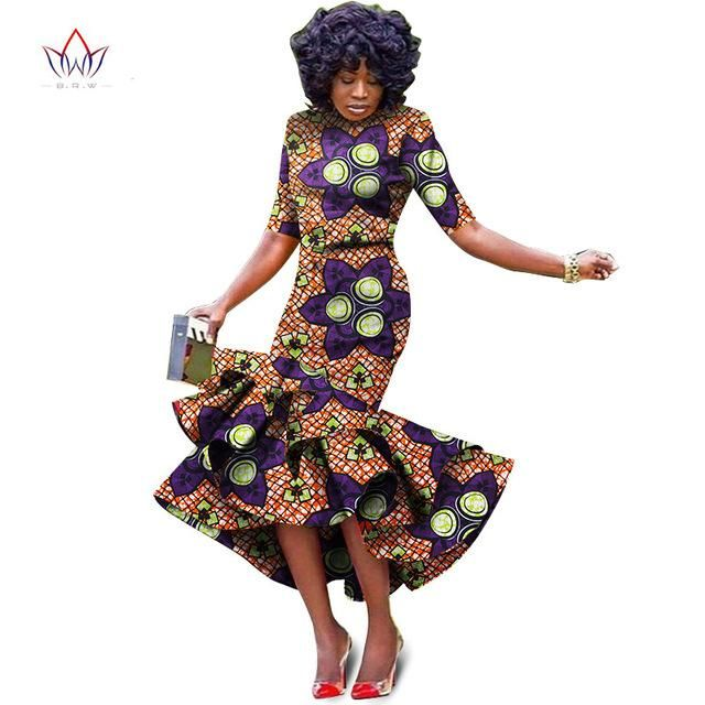 56eda007822 African bazin riche printed Dress For Women