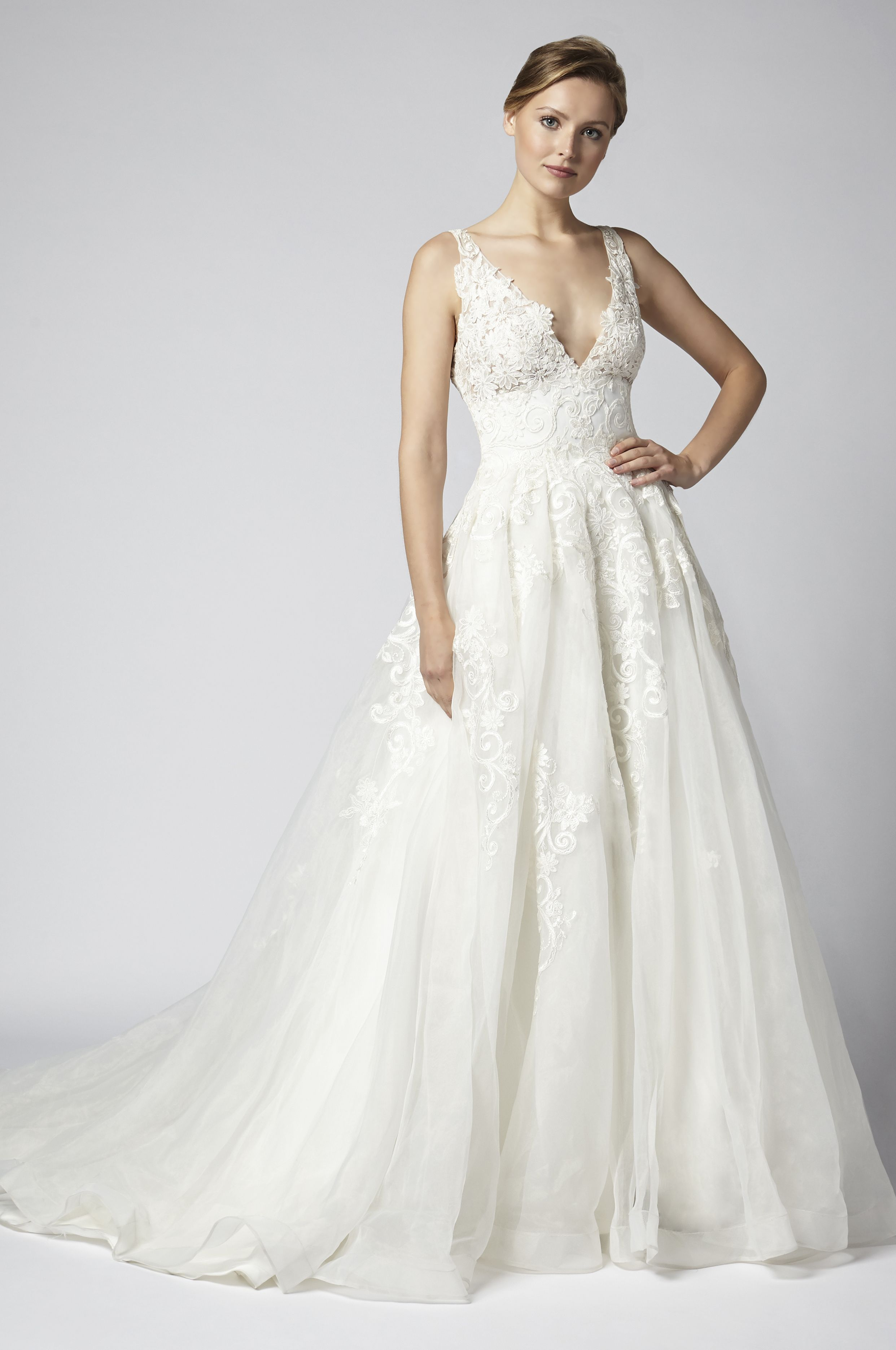 Sleeveless Lace Vneck Ball Gown Wedding Dress With Corset