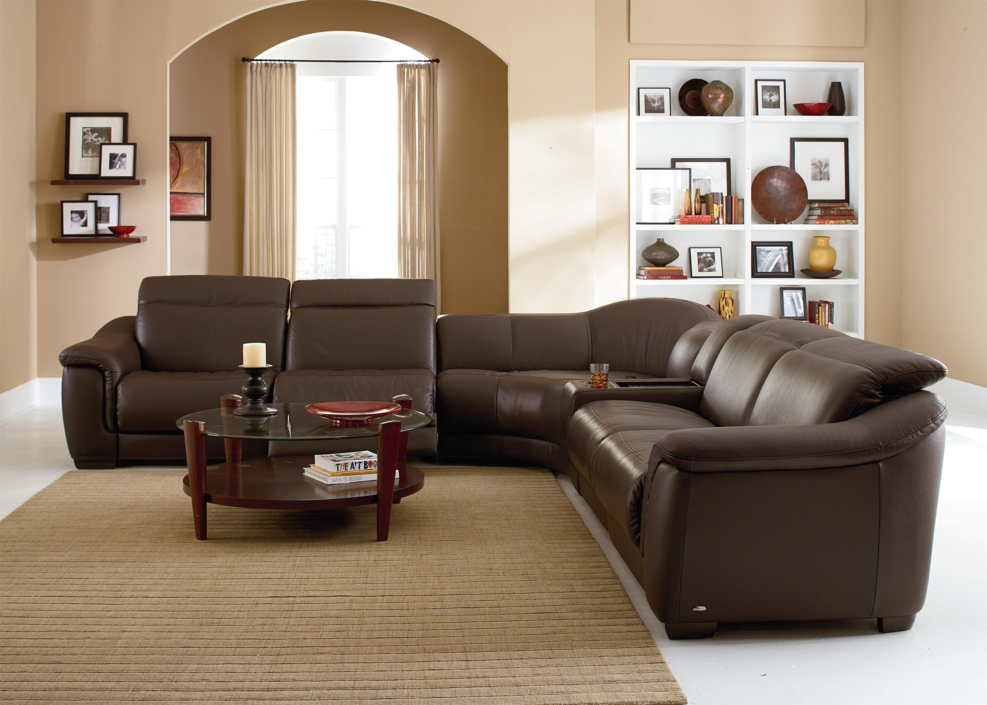 B641 Contemporary Leather Reclining Sectional Sofa With Built In