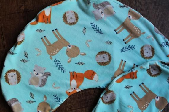 Minky Woodland Animal Nursing Pillow Cover, Mountain Nursing Pillow Cover,  Fox Nursing Pillow, Deer