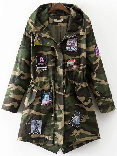 Army Green Camouflage Patch Detail Drawstring Waist Coat Green Camouflage Drawstring Waist Coat Drawstring Coat