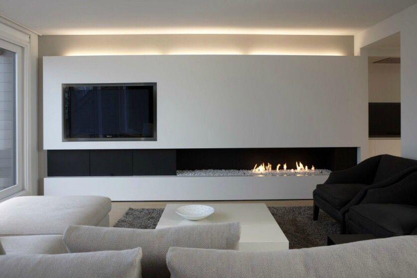 Salon Avec Tv Et Cheminee Au Gaz Drawing Room Modern Fireplace