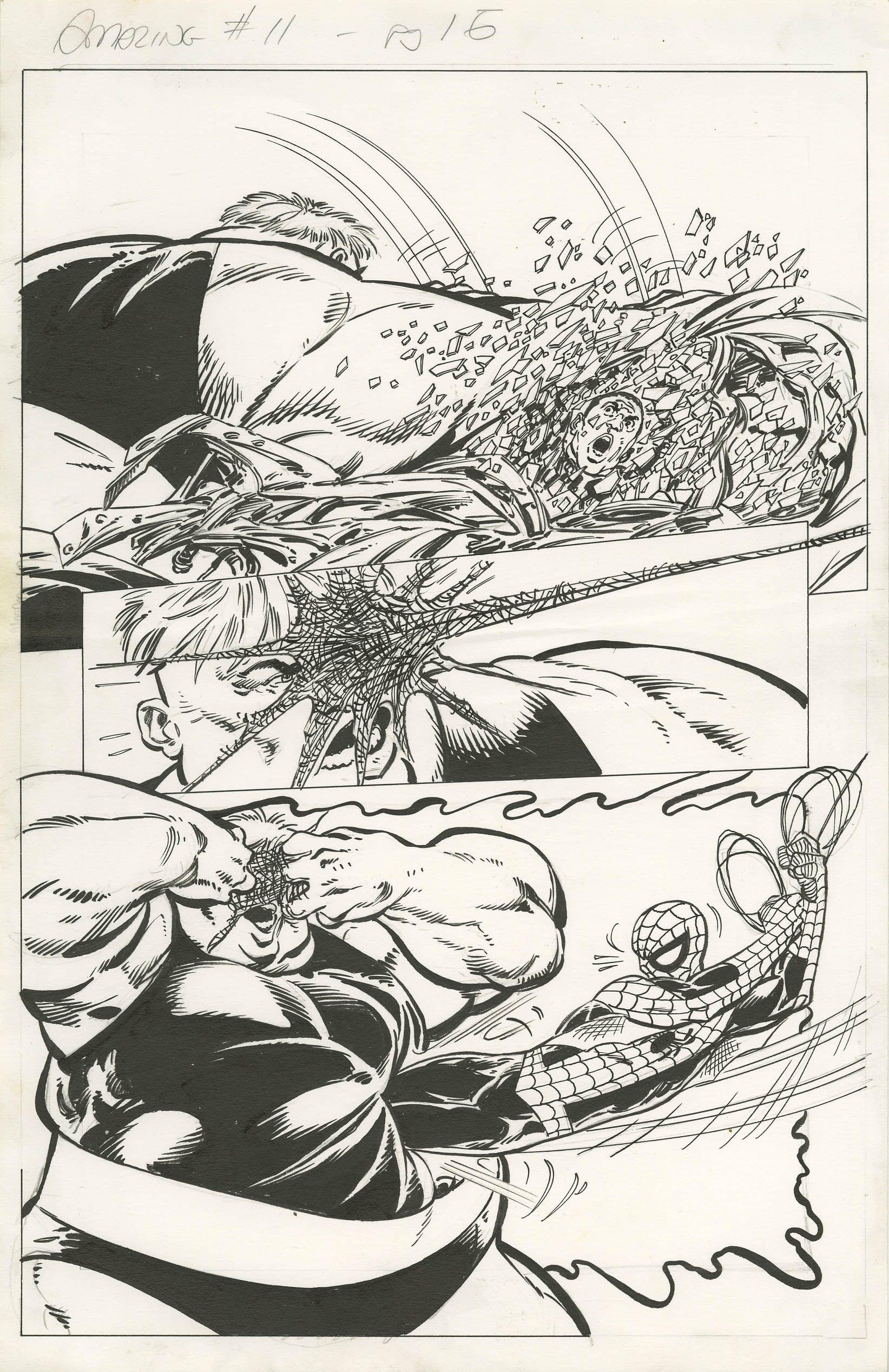 AMAZING SPIDER-MAN #11 PAGE 15 - JOHN BYRNE  1999, Spider-Man Battles the Blob - W.B.