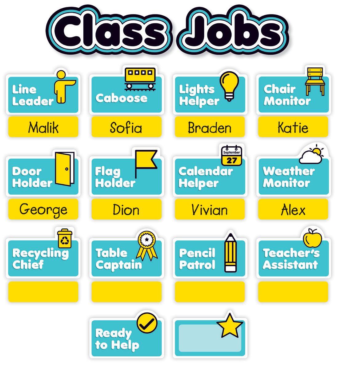 Aqua Oasis Class Jobs Mini Bulletin Board Class jobs