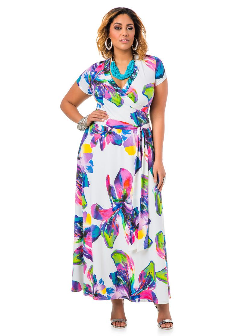 e28be7ff7e4 Floral Print Faux Wrap Dress - Ashley Stewart