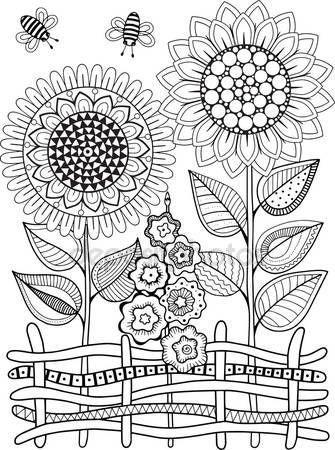 Girasoles De Vector Doodle Libro Para Colorear Para Adultos