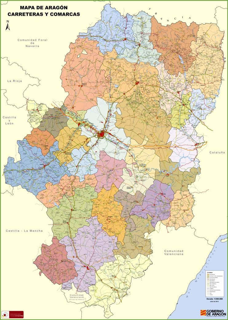 Large Detailed Map Of Aragon With Cities And Towns Maps - Large map of spain