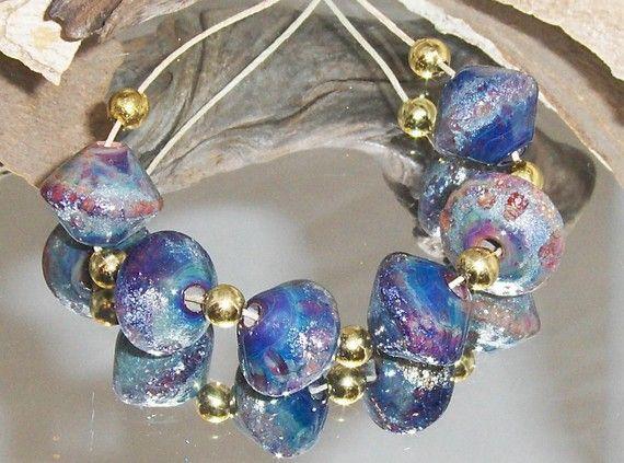 MULTI COLOR DARK RUSTIC beads lampwork bicones 6 by Flameartbytd ENAMEL DUST