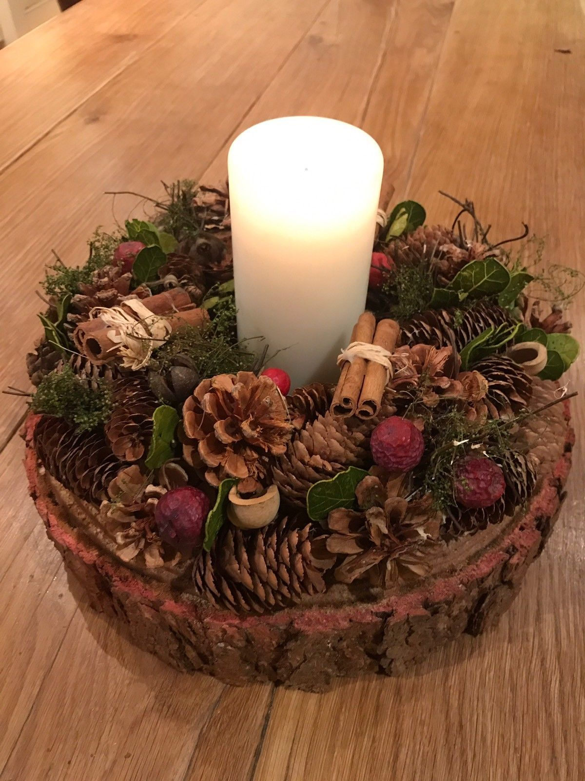 Christmas Wreath Wedding Garland 12 30cm With Real Rustic Log Slice Christmas Table Centerpieces Christmas Candle Centerpiece Christmas Table Decorations