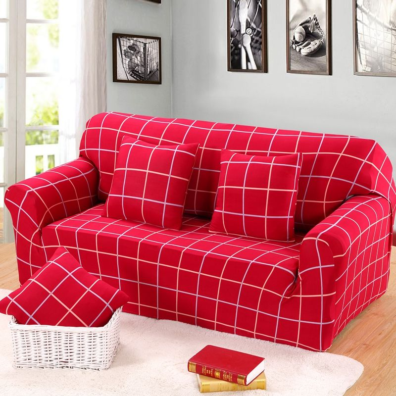 Aoguhome Store 3 Seater Backrest Sofa Cover 1 2 4 Seater Couch Slip Covers Red Color Luxury Plaid Printed Co Printed Sofa Sectional Couch Cover Sectional Couch