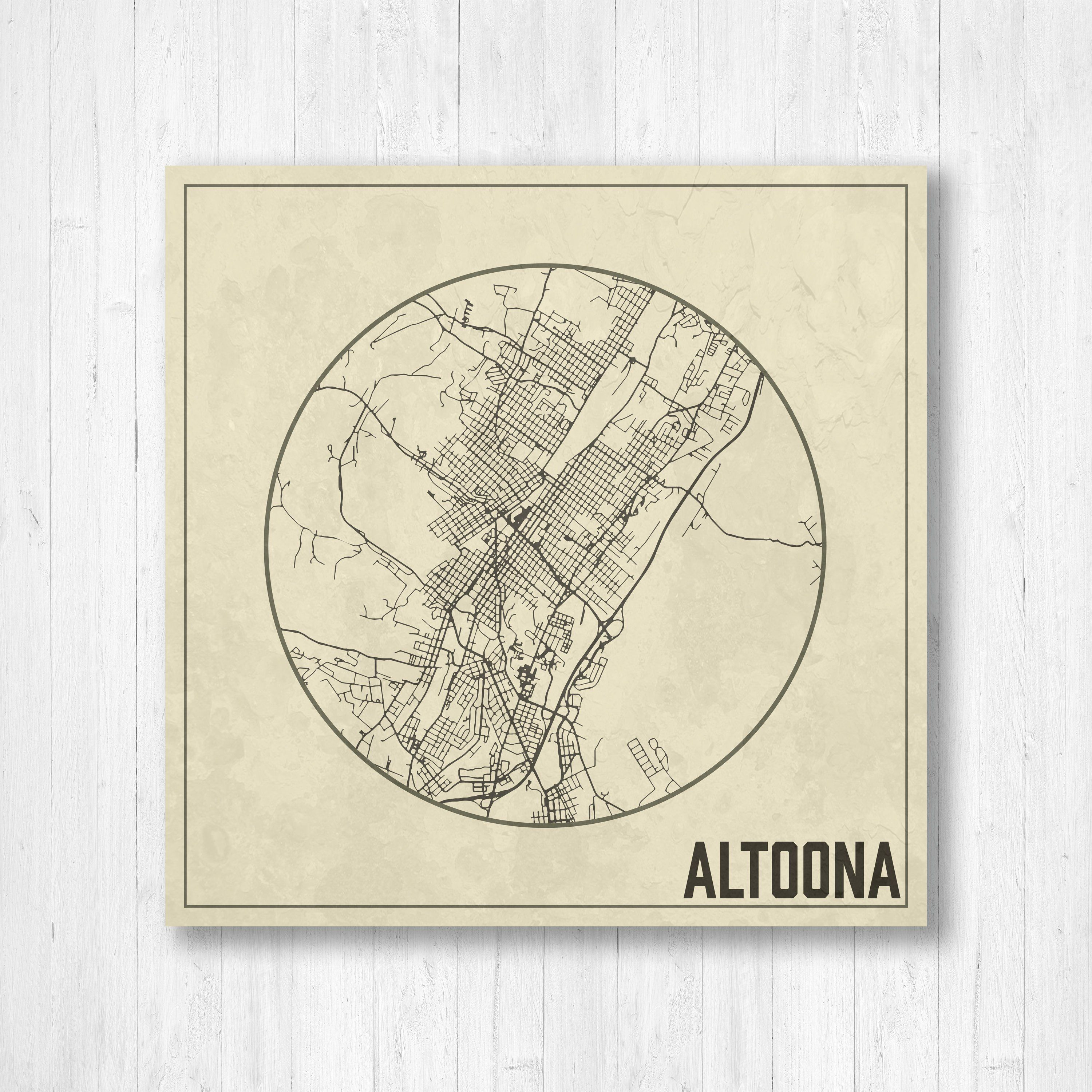 Altoona, Pennsylvania, Altoona City Map, Map With Streets, Weathered Map,