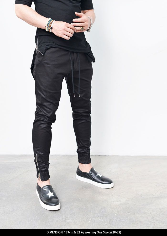 Bottoms :: Coated Slim Zip Cuff Jogger-Sweatpants 206 - Mens Fashion Clothing For An Attractive Guy Look