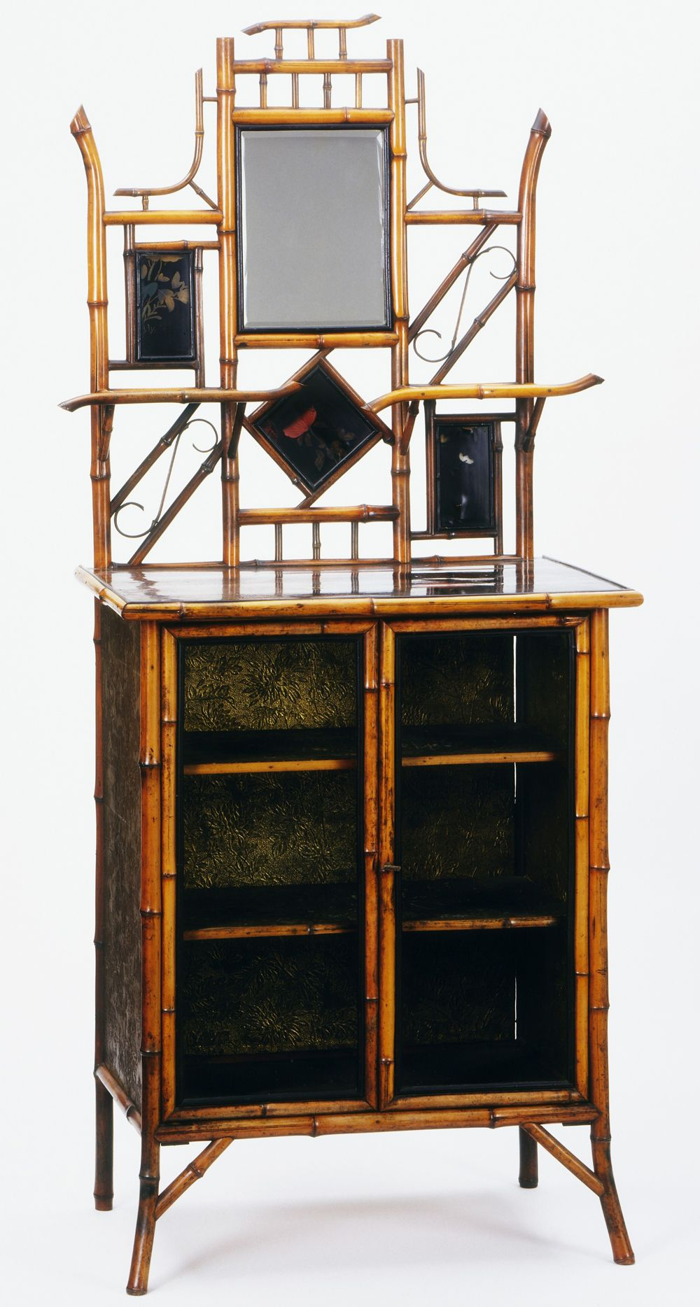 Cabinet Jean Baptiste Kohn About 1910 Bamboo With Lacquer Panels Embossed Paper And A Mirror Mobilier De Salon Meuble Bambou Decoration