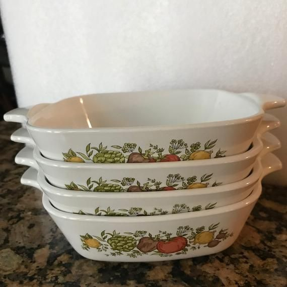 Corningware Range Oven And Microwave: Four Vintage Small 1 3/4 Cup Corning Ware Spice Of Life