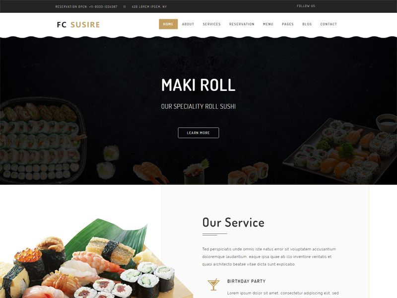 Free Birthday Website Template ~ Fc susire japanese restaurant template free css templates