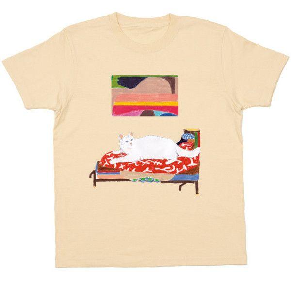 寝子 ❤ liked on Polyvore featuring tops, t-shirts, shirts, t shirt, beige top, beige shirt, tee-shirt, t shirts and beige t shirt