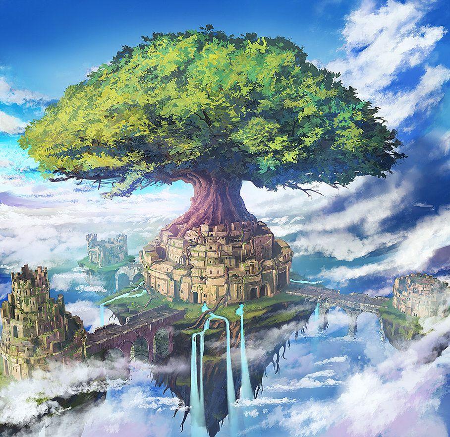 Mobile Game City Floating Island by mrainbowwj.deviantart