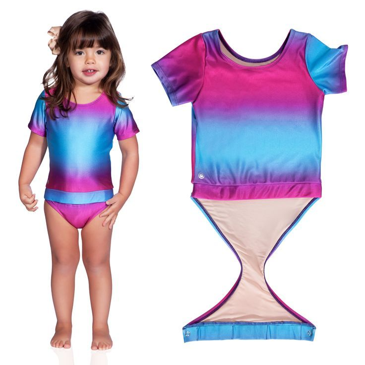 e2ca7b49e8 Fuchsia Turquoise Ombre short sleeve swimsuit by FASTEN. Rash guard swimsuit.  Fits toddler girls and young girls