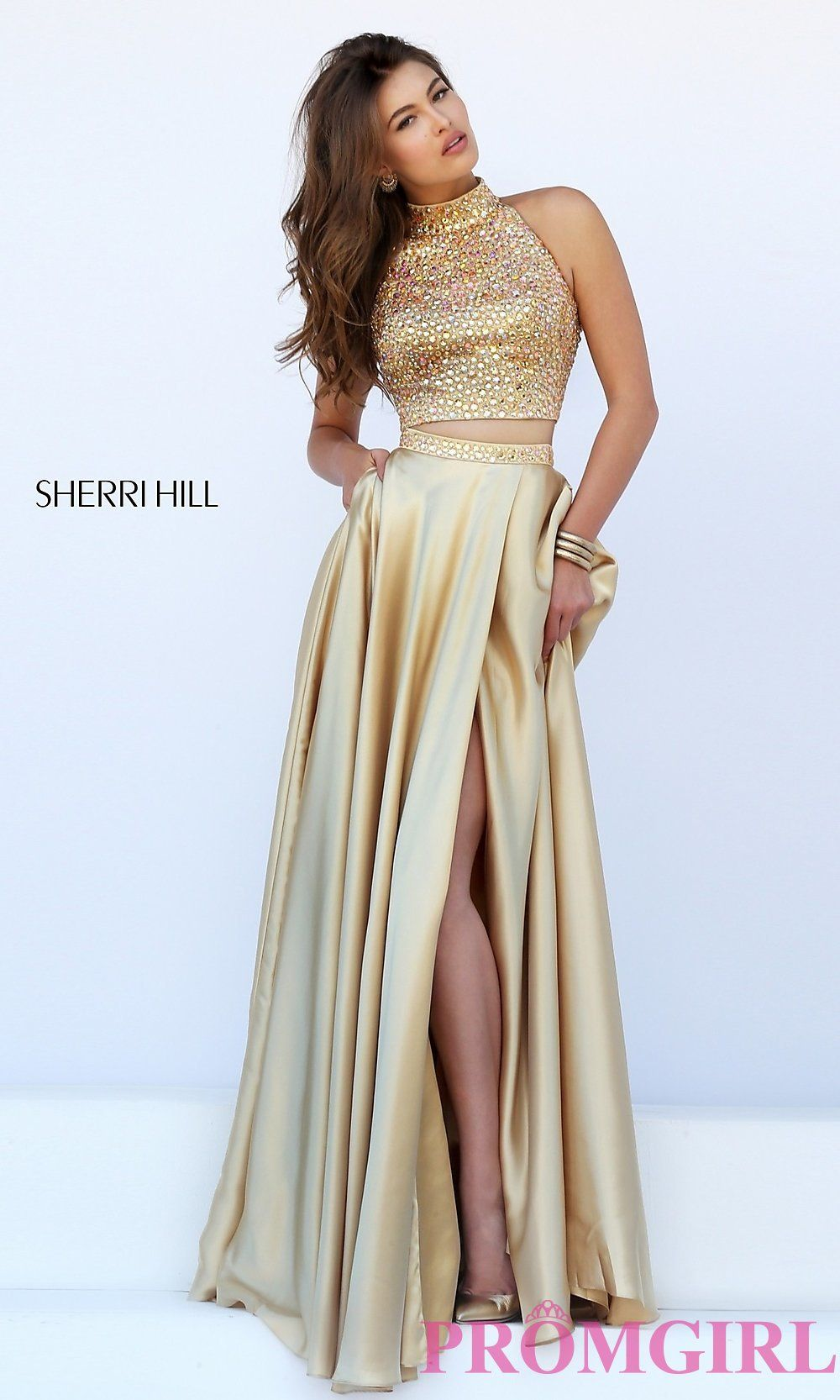 860cfd9e11ae Image of long high neck two piece dress Style: SH-11330 Detail Image 2