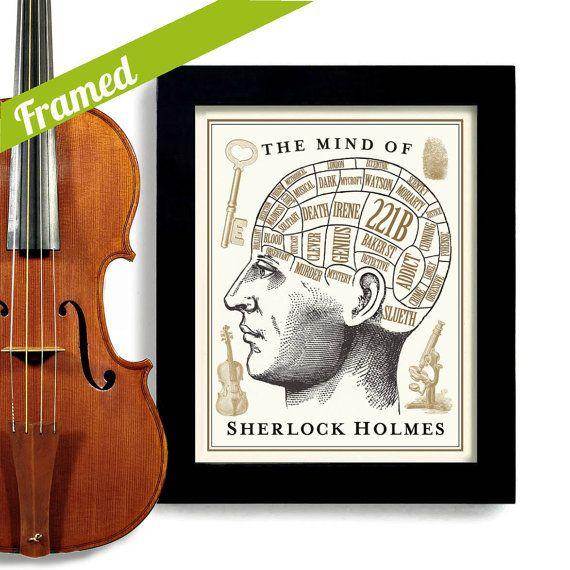 Sherlock Holmes Gift Framed Artwork BBC 221B Baker Street Wall Art Dr Watson Crime Scene Phrenology