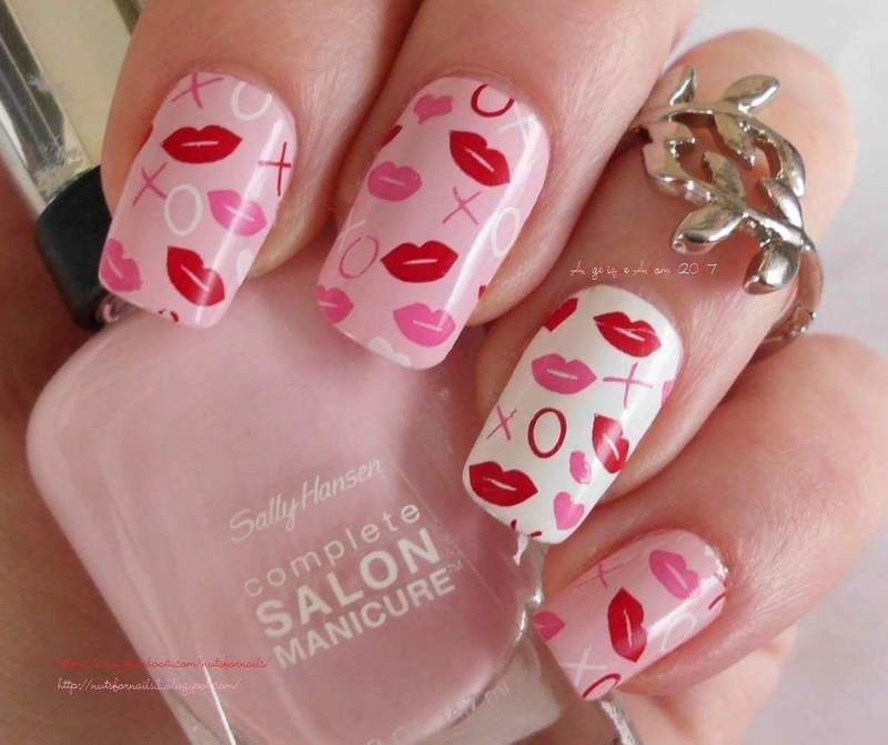 Valentine\'s Day Kisses nail art by Angelique Adams | nail art ...
