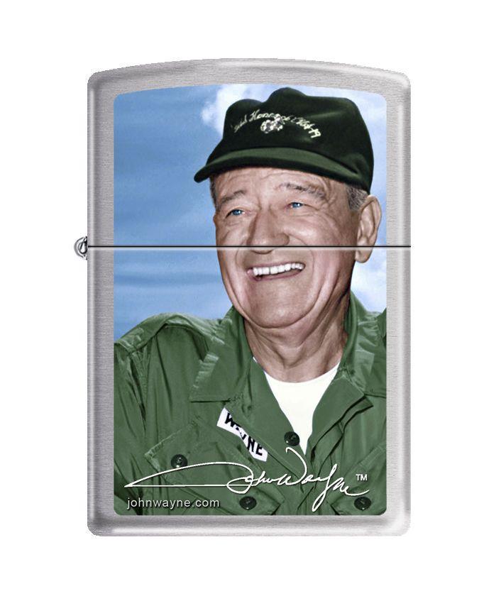 Zippo Lighter: John Wayne - Military Uniform - Brushed Chrome