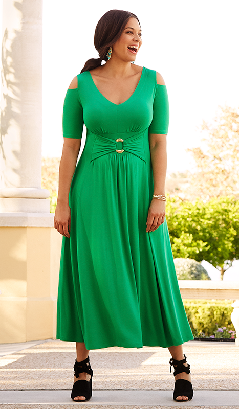 78a371b48 Break out the maxi dress for spring! We love this  lizlange dress with a  chic cold shoulder!