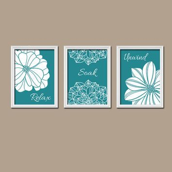 Shower Curtain Bathroom Wall Art Canvas Artwork Teal White Flower Set Of 3 Trio Prints Decor Rela Turquoise Bathroom Decor Bathroom Artwork Kid Bathroom Decor Teal wall decor for bathroom