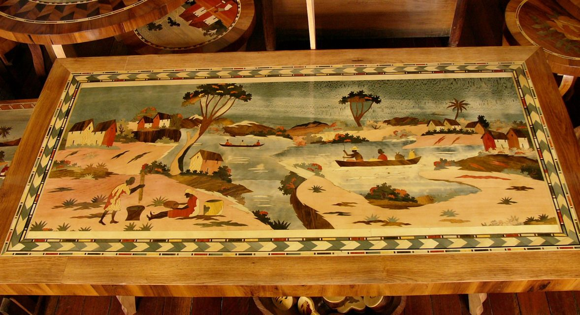 Hand-carved wooden table, Ambositra, Madagascar  | Mada's