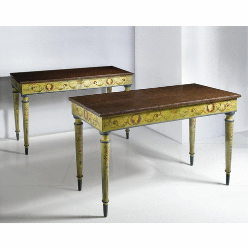 A pair of Italian neoclassical polychrome painted console tables Naples, circa 1790.