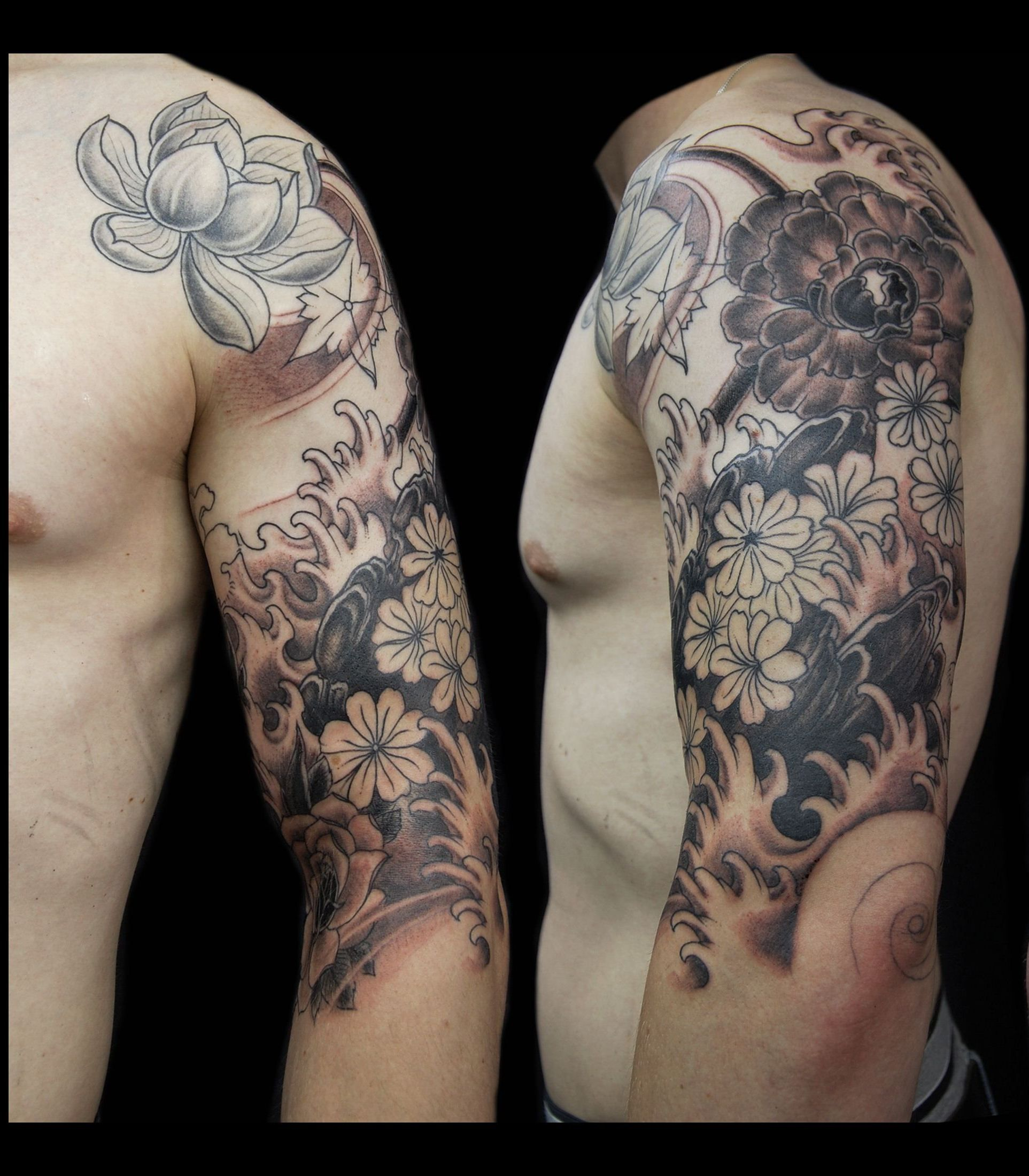 Flower tattoo sleeve for men flower tattoos for men get for Male sleeve tattoo ideas