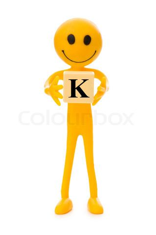 tall, thin Smiley holding the letter K...