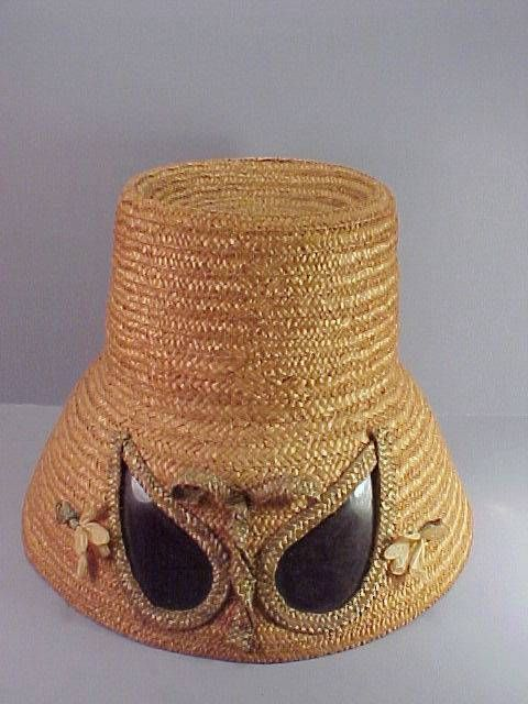 FABULOUS 1950s Era Tall Straw Hat with Built-in Sunglasses - Made in ITALY