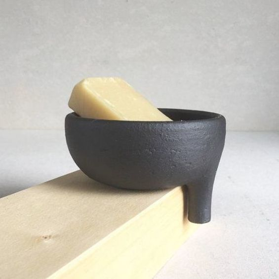 Made to Order Long-Spout Rustic MATTE BLACK SOAPDISH with strainer for bathroom sink, ceramic, potte