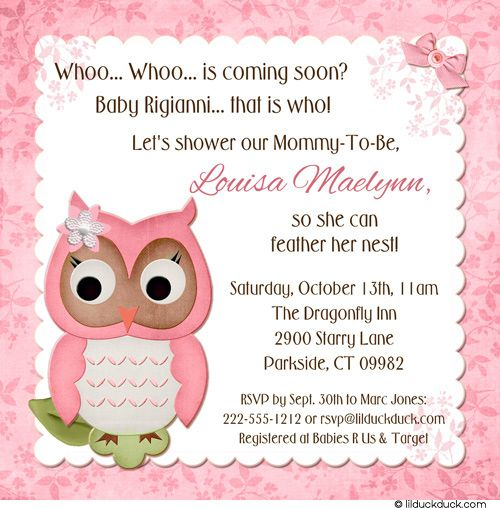 Owl Themed Baby Shower Invitations