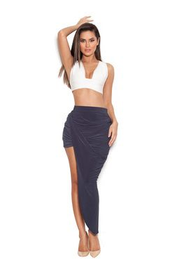 Stretch crepe black skirt