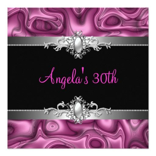 30th birthday party pink silver black abstract invitation