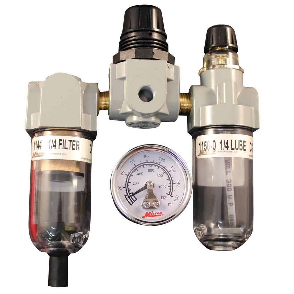 Milton Industries Inc 1 4 In Npt Deluxe Frl Trio Air Tools Filters Metal Bowl