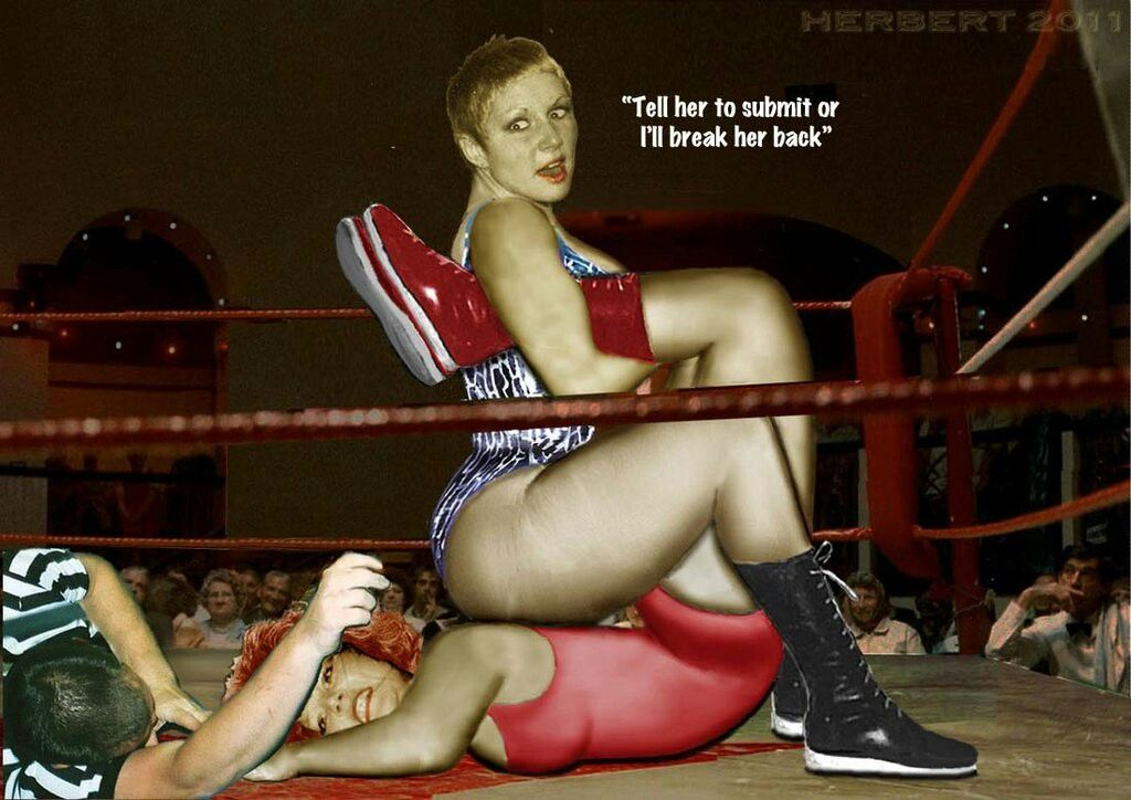 Female wrestling submission hold